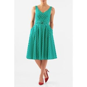 eShakti Polka Dot Print Pleated Crepe Dress